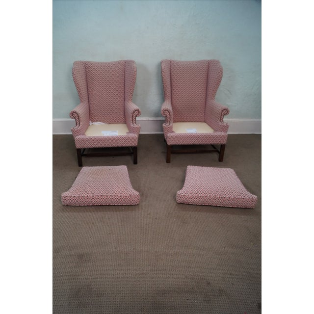 Baker Chippendale Style Wing Chairs - A Pair - Image 5 of 10