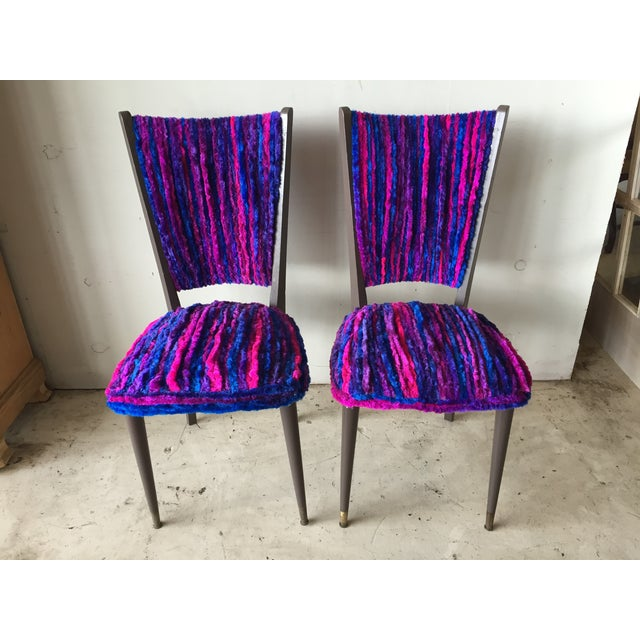 Vintage 1960s Furry Striped Accent Chairs - A Pair - Image 2 of 10