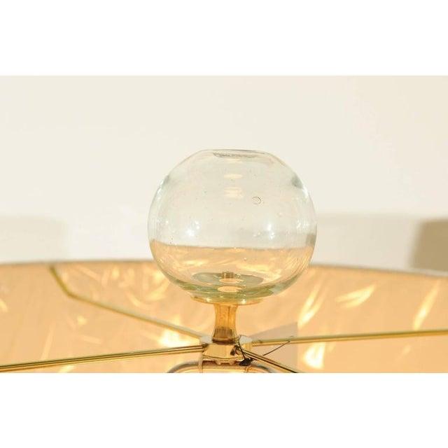 Elegant Restored Pair of Blown Murano Lamps with Custom Orb Finials For Sale In Atlanta - Image 6 of 11