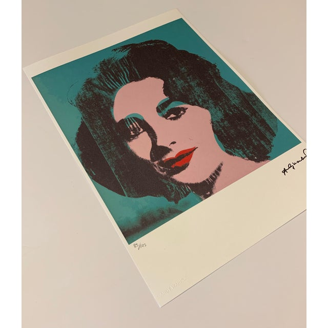 """Early 21st Century Turquoise Andy Warhol Limited Edition """"Liz, 1964"""" Stone Signed, Numbered, and Authenticated Lithograph For Sale - Image 5 of 12"""