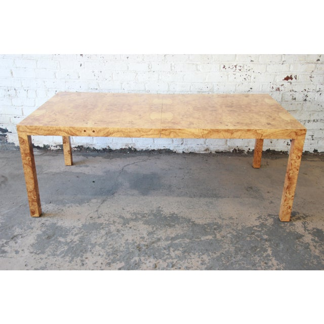 Burlwood Milo Baughman for Directional Burl Wood Parsons Extension Dining Table For Sale - Image 7 of 11