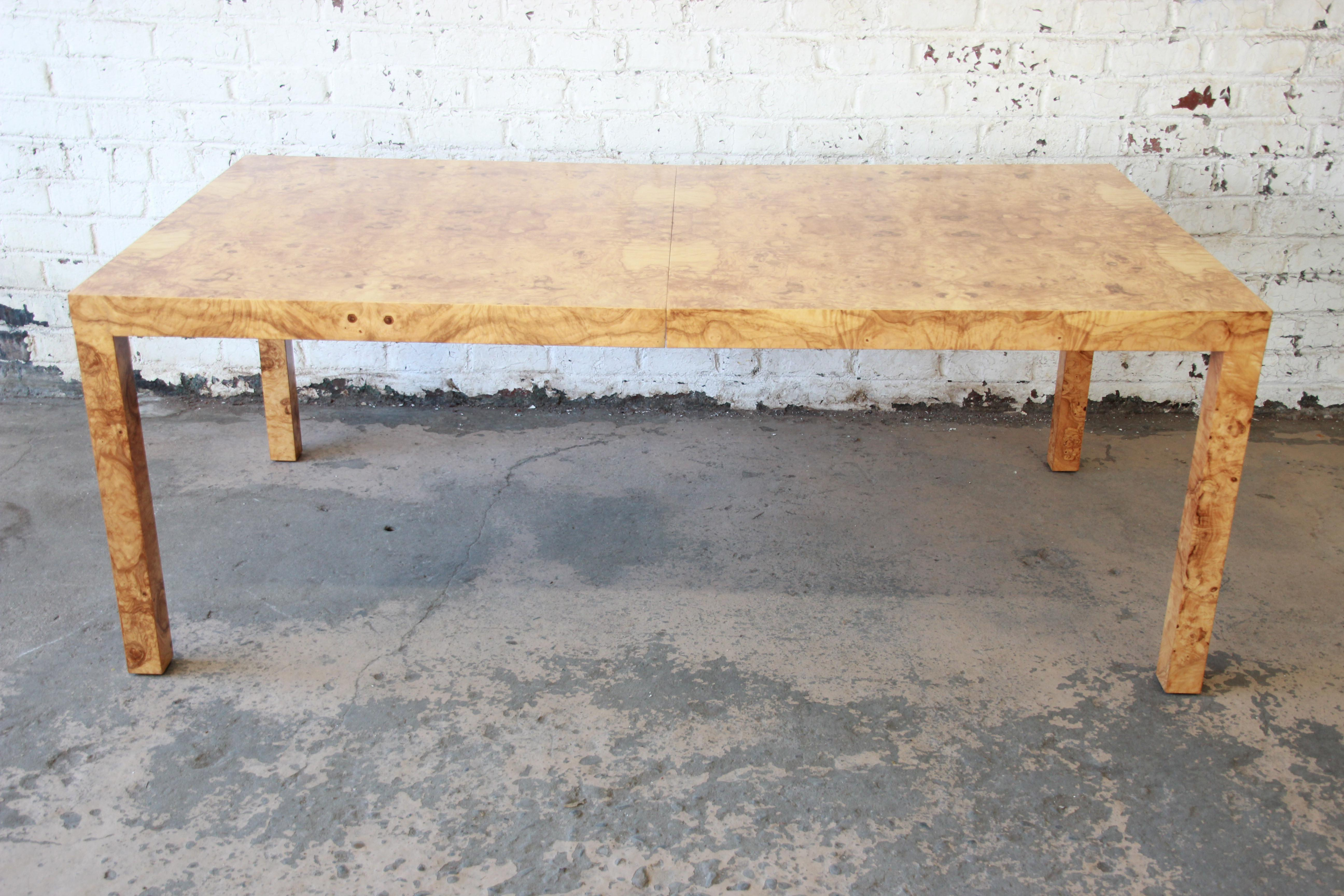 Genial Milo Baughman For Directional Burl Wood Parsons Extension Dining Table    Image 7 Of 11