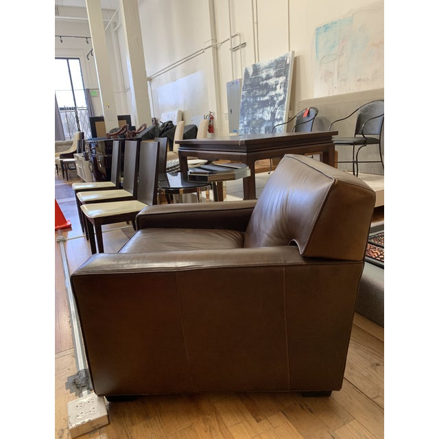 2010s Restoration Hardware Mitchell Gold Leather Armchair For Sale - Image 5 of 10