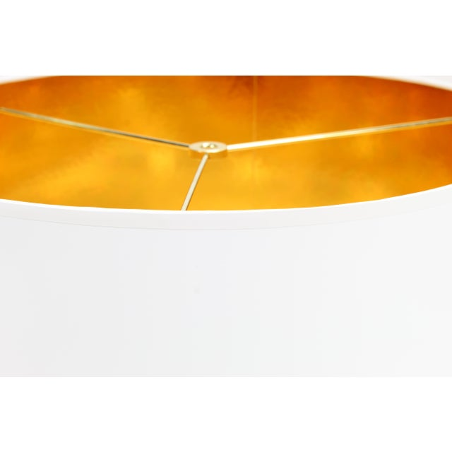 Lampshade Designs White High Gloss Drum Lamp Shade With Gold Lining For Sale - Image 4 of 5