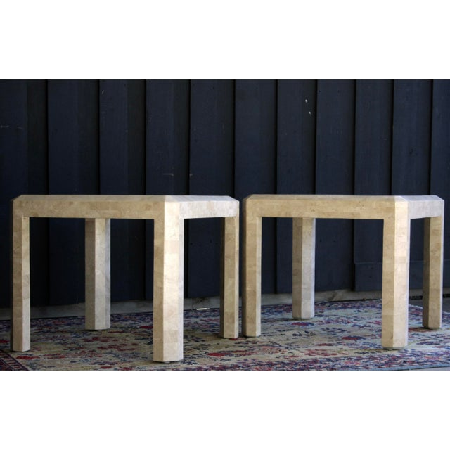 Americana Maitland Smith Tessellated Marble Tables, a Pair For Sale - Image 3 of 13
