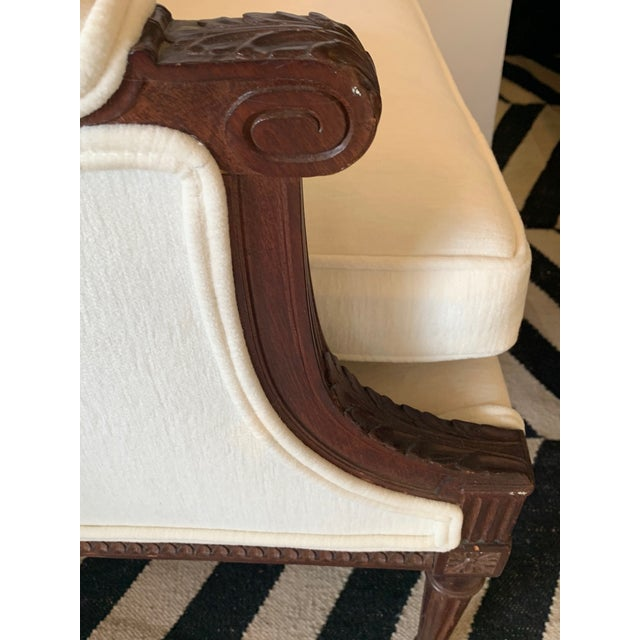 Wood Carved Walnut and Upholstered Wingback Club Chair For Sale - Image 7 of 13