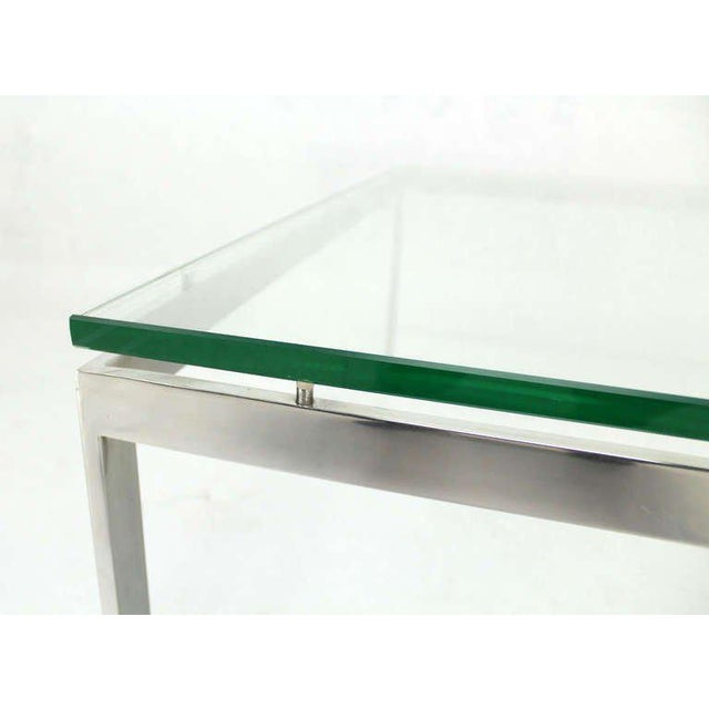 Mid-Century Modern Style Large Square Stainless Base and Glass-Top Coffee Table For Sale - Image 4 of 9