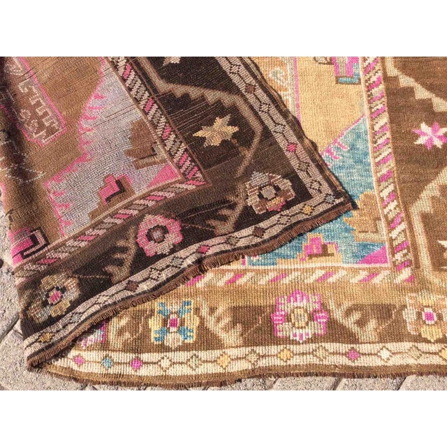 Hand Knotted Brown Turkish Rug For Sale - Image 11 of 12