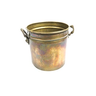 Vintage Mid-Century Bucket / Planter With Lion Head Handles For Sale