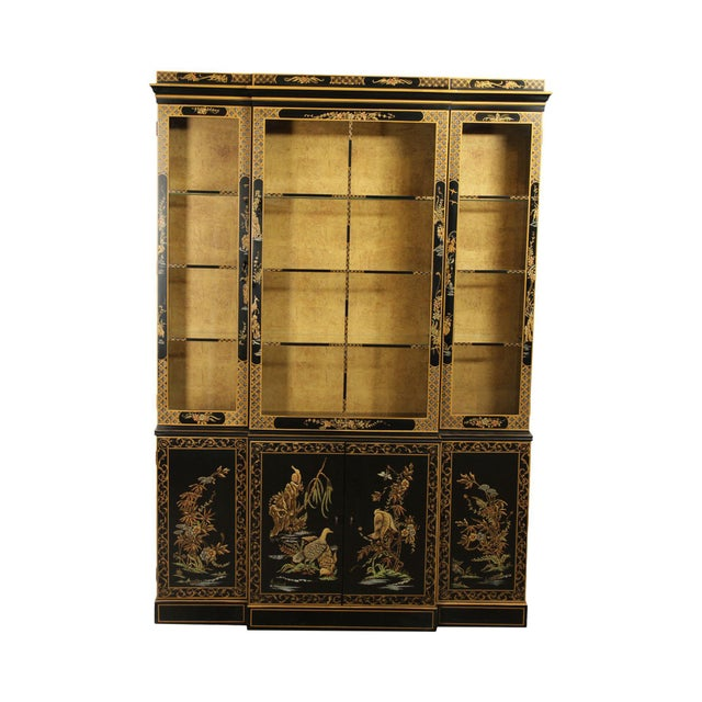Drexel Heritage Et Cetera Black & Gold Asian Chinoiserie Breakfront For Sale - Image 13 of 13