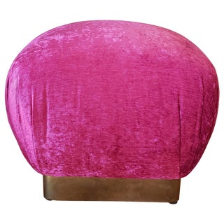 Vintage Brass Plinth Base Ottoman 'Fuschia Velvet' For Sale