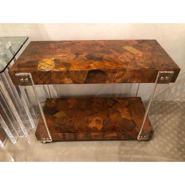 Brutalist Vintage Brutalist Copper Brass Mixed Metals Patchwork Lucite Bar Cart For Sale - Image 3 of 13