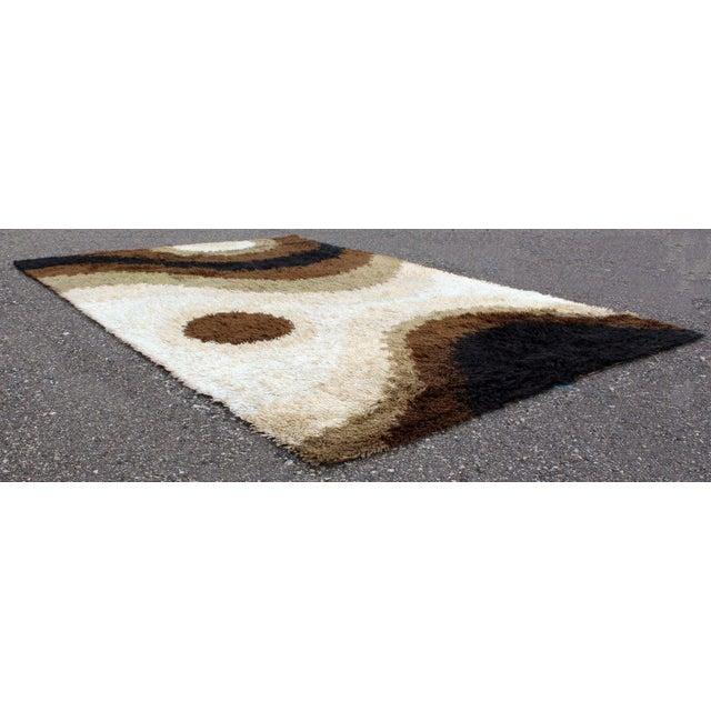 Mid Century Modern Large Shag Rya Wool Area Rug Carpet Black Brown Beige 60s 70s For Sale - Image 4 of 7