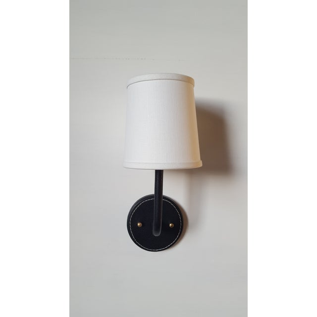 Paul Marra Paul Marra Top-Stitched Leather Wrapped Sconce in Black For Sale - Image 4 of 12
