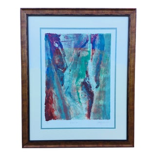Vintage Abstract Watercolor Signed and Titled the Big Calm For Sale