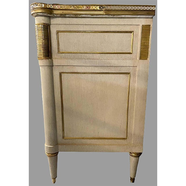 Stone Pair of Jansen Style Marble Top Commodes / Nightstands Painted Linen Finished For Sale - Image 7 of 13