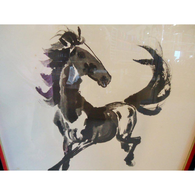 Japanese Equestrian Ink Horse Painting - Image 4 of 7