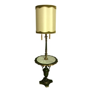 Antique Italian Floor Lamp With Marble Top Table For Sale