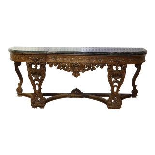 Monumental Carved Walnut French Portoro Marble Top Sideboard Buffet C1920 For Sale