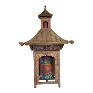Tibetan Prayer Wheel in Wood Pagoda For Sale