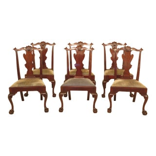 1980s Vintage Henkel Harris Ball & Claw Mahogany Dining Room Chairs- Set of 6 For Sale