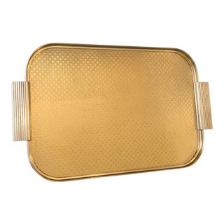 Mid-Century English Gold Metal Bar Tray For Sale