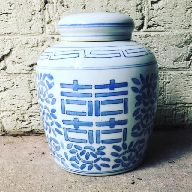 Vintage Asian Blue & White Double Happiness Ginger Jar For Sale In Raleigh - Image 6 of 6