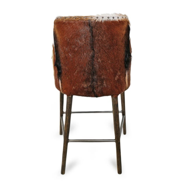 2010s Austin Goat & Linen Counter Stool For Sale - Image 5 of 9