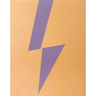 Minimalist Max & Alma Wolf Original Lightning Bolt Acrylic Painting For Sale
