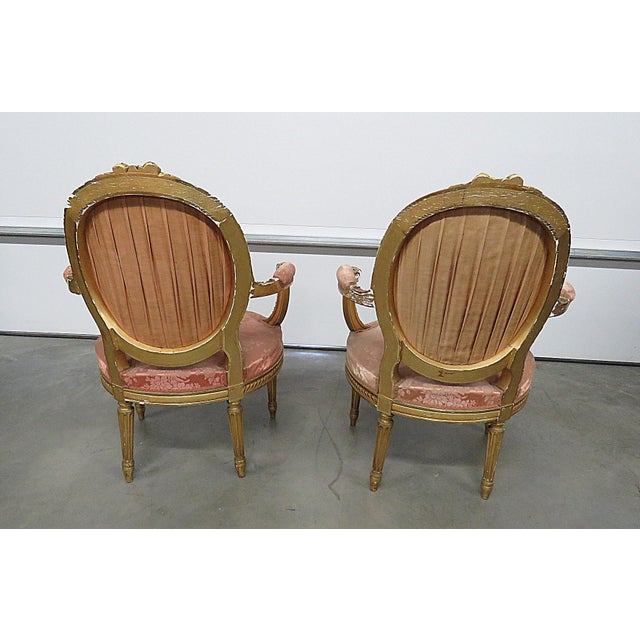 French Regency Style Arm Chairs - a Pair For Sale - Image 11 of 13