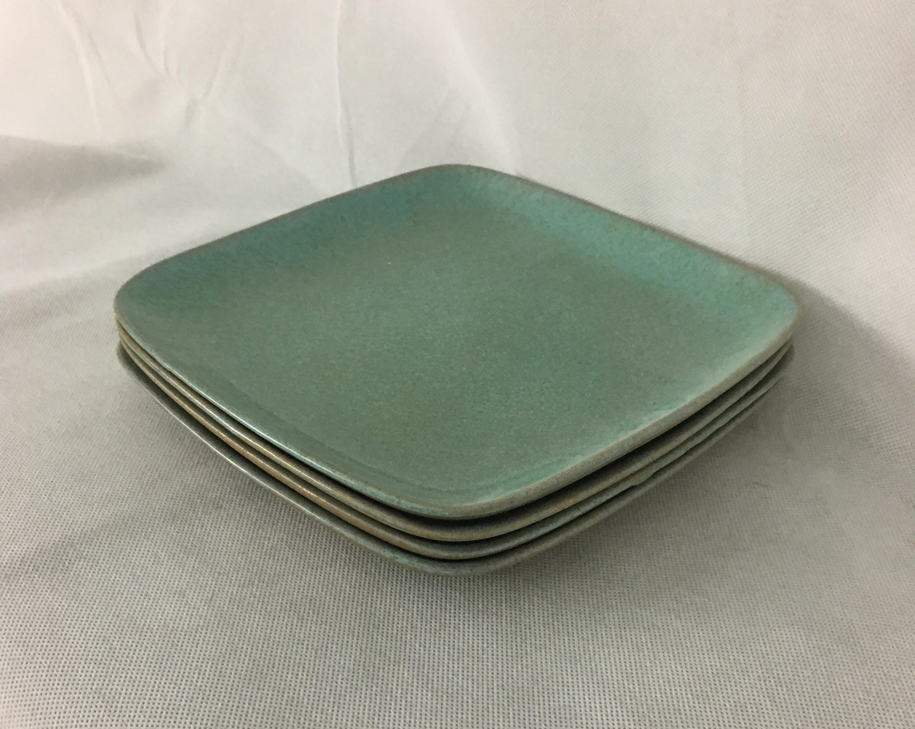 Glidden Matrix Turquoise Small Dinner Plates - Set of 4 - Image 5 of 5  sc 1 st  Chairish : small dinner plate - pezcame.com