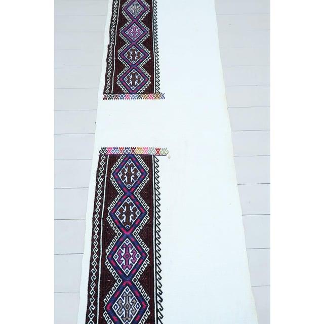 Art Deco Vintage Turkish Kilim Rug Runner For Sale - Image 3 of 13