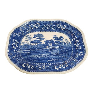 "Antique 19th Century Blue & White Transferware Copeland Spode ""Spode's Tower"" Large 17.5"" Platter For Sale"