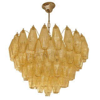 Venini Poliedri Amber Glass Chandelier For Sale