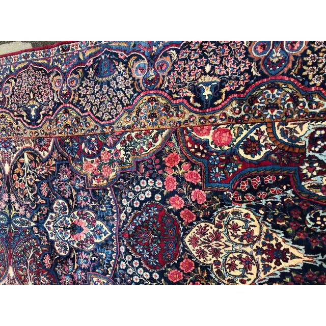 Palatial Antique Persian Carpet With Red Border, Blues, Reds, Creams, Kermin For Sale - Image 9 of 13