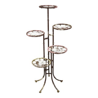 Vintage Hollywood Regency Faux Bamboo 5 Tier Iron Tole Metal Plant Stand For Sale