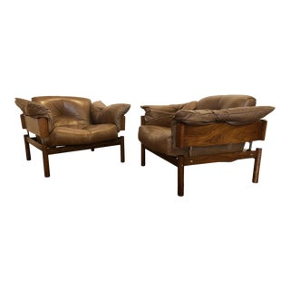 Percival Lafer Rosewood and Leather Lounge Chairs, a Pair For Sale