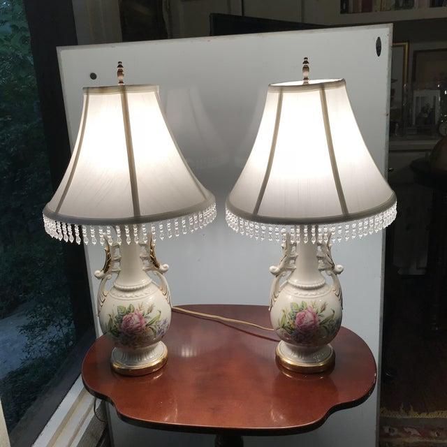 French Vintage French Opaline Enamel Painted Vase Lamps - a Pair/Reduced Final For Sale - Image 3 of 8