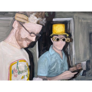 """""""NYE 2008"""" Contemporary Figurative Mixed-Media Painting on Yupo Mounted on Wood Panel by Christy Powers For Sale"""