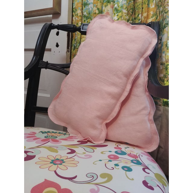 Vintage pink chair pillows set in pretty blush pink medallion shape perfect throw pillows for hardback chairs. Not too...