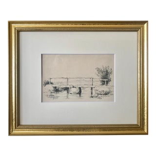 Antique European School Drawing of a Bridge Artist Signed Dated 1883 For Sale
