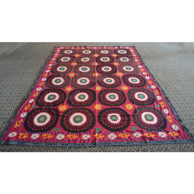 Big Size Colorful Suzani Bedspread - Image 2 of 6