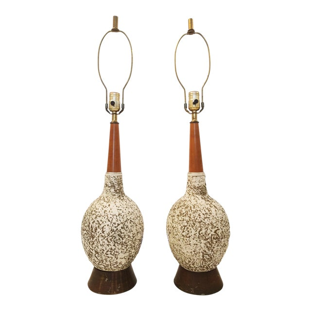 Vintage Textured Orb Table Lamps - A Pair - Image 1 of 4