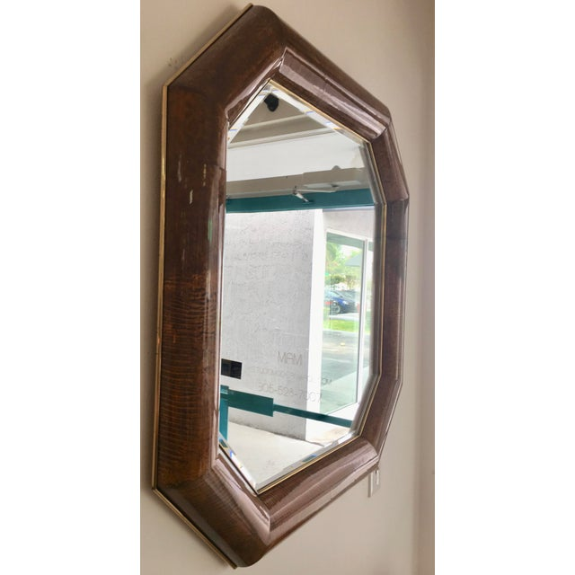 Mid-Century Goatskin & Brass Frame Mirror - Image 3 of 5