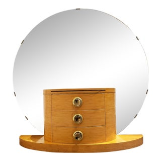 Vintage Maple Wood Vanity With Large Mirror Circa 1970s For Sale