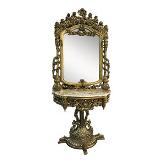 1930s Vintage Rococo French Mirror and Console** For Sale