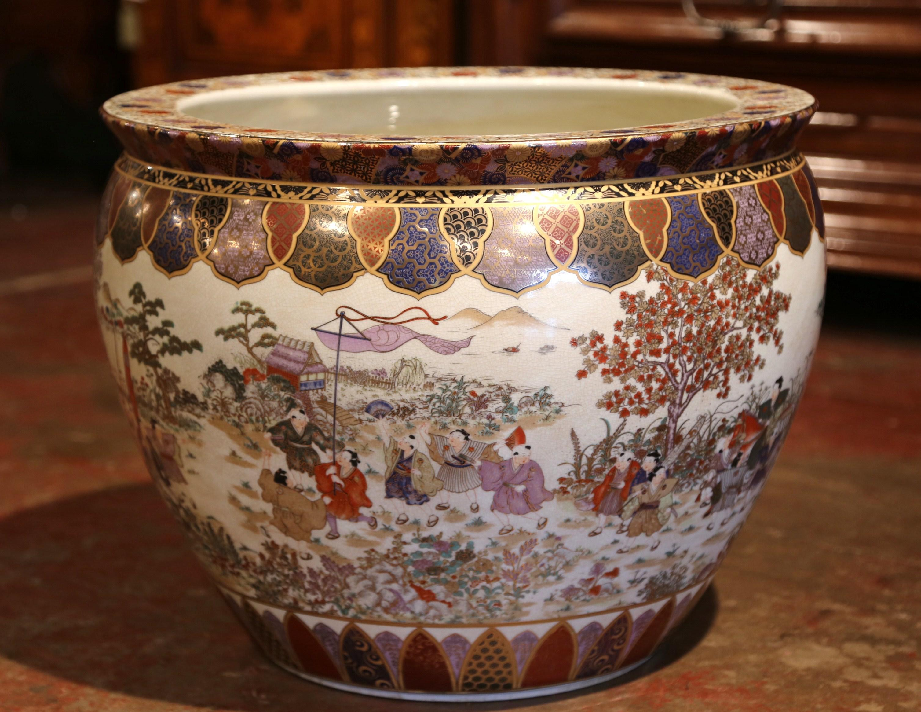 Large Porcelain Chinese Fishbowl Planter With Classic Oriental