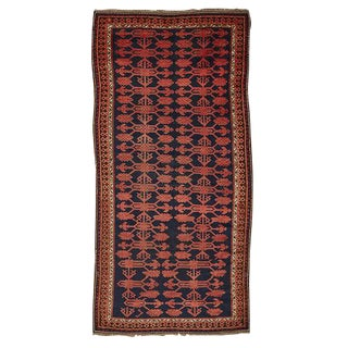 Traditional Kyrgyz Rug in Red and True Indigo Blue Circa 1900