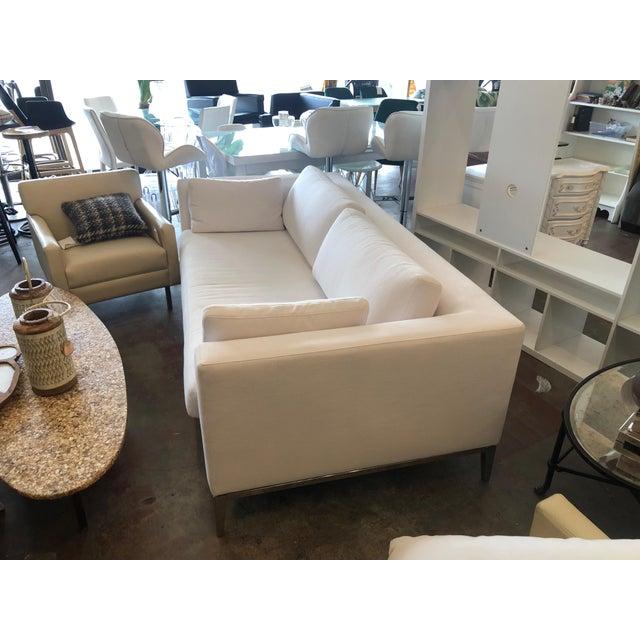 Italian Restoration Hardware Italia Taper Arm White Sofa With Chrome Finish Legs For Sale - Image 3 of 6
