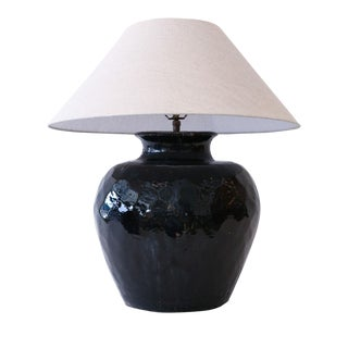 Black Glazed Terracotta Table Lamp For Sale